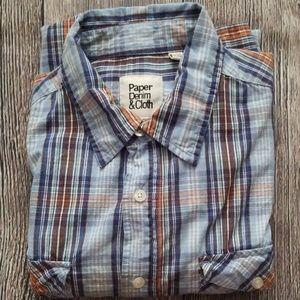 Paper Denim & Cloth Plaid Long Sleeve Shirt L